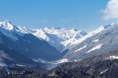 Stubaital - Stubaier Gletscher. Panoramic view of the Stubai valley in Tirol - Austria in winter with Stubai glacier royalty free stock image