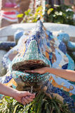 Stubarwna jaszczur fontanna Zdjęcia Royalty Free