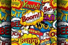 Stubarwna komiczki mowa gulgocze bezszwowego wzór Obrazy Royalty Free