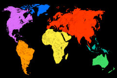 Stubarwna światowa mapa, odosobniona Zdjęcie Royalty Free