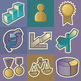 stubarwne biznesowe ikony Ilustracji