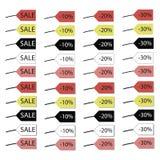 Stubarwne etykietki z wpisową sprzedażą przy rabatem 10, 20 i 30 procentów z cieniem bez odosobnionego na białym backgr i, ilustracji