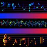 Stubarwne muzyk notatki na czarnym tle ilustracja wektor