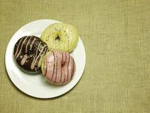 Stubarwni donuts na białym naczyniu Zdjęcie Stock