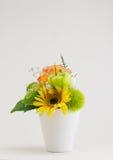 Stubarwni kwiaty w wazie, odizolowywającej Obrazy Stock