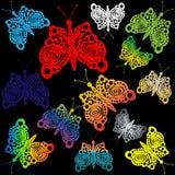 Stubarwni motyle, wzorzystość kontur Zdjęcia Stock