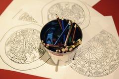 Stubarwni ołówki dla rysować w metalu wiadrze Obraz Stock