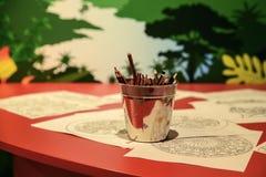 Stubarwni ołówki dla rysować w metalu wiadrze Zdjęcia Stock