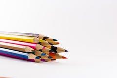 Stubarwni ołówki na białym tle Fotografia Royalty Free