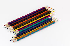 Stubarwni ołówki na białym tle Obrazy Stock