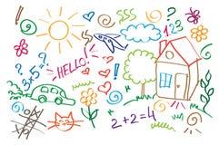 Stubarwni symboli/lów dzieci rysuje styl Fotografia Royalty Free