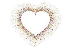 Stubarwni tęcza confetti w formie serca wektor Zdjęcia Royalty Free