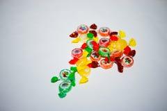 Stubarwny cukierek i lizaki na białym tle zdjęcie stock