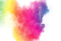 Stubarwny cząsteczka wybuch na białym tle Kolorowy pyłu splatter na białym tle zdjęcie stock