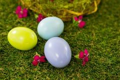 Stubarwny Wielkanocny jajko na trawie Obraz Stock