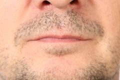 Stubble on face. Close-up as an independent background Royalty Free Stock Photo