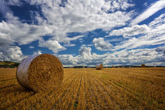 Stubble Field with Hay Bales Stock Images