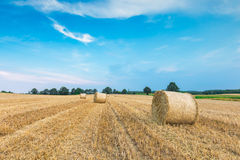 Stubble field with straw bales Stock Images