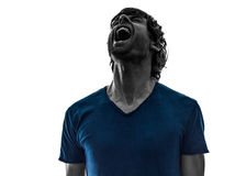 Stubble man shouting portrait  silhouette Royalty Free Stock Images