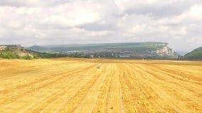 Stubble Wheat Field At Beautiful Hilly Terrain stock video