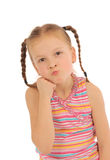 Stubborn. Cute little  girl with a stubborn look on her face Royalty Free Stock Photo