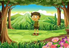 A stubborn child at the forest. Illustration of a stubborn child at the forest Royalty Free Stock Images