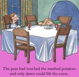 Stubborn child. The peas had touched the mashed potatoes and only dawn could lift the curse Stock Images