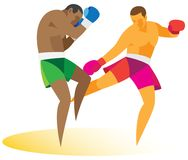 A stubborn duel between two athletes kickboxers Stock Image