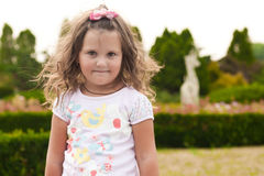 Stubborn girl. In the park Royalty Free Stock Images