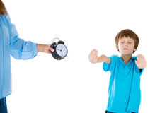 Stubborn kid unwilling to go to bed Stock Photos