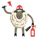Stubborn Lamb Fireman Vector. Stubborn Lamb Fireman. Sheep professional character. Vector illustration of stubborn fire fighter isolated on white Royalty Free Stock Photos
