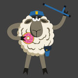 Stubborn Lamb Policeman with Donut Vector Stock Images