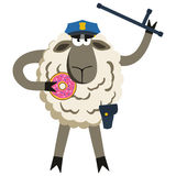 Stubborn Lamb Policeman with Donut Vector Royalty Free Stock Photography