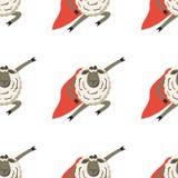 Stubborn Lamb superhero with red cloak. Vector. Illustration of super hero sheep seamless pattern Stock Photo