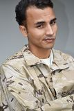 Stubborn Male Soldier. A young handsome hispanic male Stock Photography