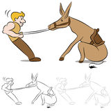 Stubborn Mule. An image of a man pulling on the reins of a stubborn mule Royalty Free Stock Photo