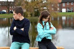 Stubborn siblings Stock Photos