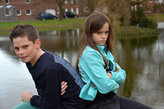 Stubborn siblings Royalty Free Stock Image