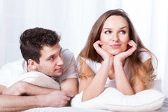 Stubborn woman and loving man Stock Photo