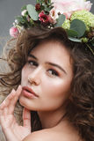 Stubio beauty portrait of cute young woman with flower crown Stock Images