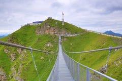 Stubnerkogel,钢桥梁,坏Gastein,缆索铁路,奥地利 图库摄影