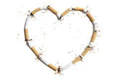Stubs сигареты в форме сердца Стоковое Фото