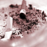 Stubs in an ashtray. 