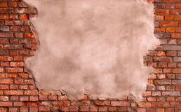 Stucco on a brick wall Royalty Free Stock Image