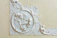Stucco on the ceiling of historic building Stock Photos