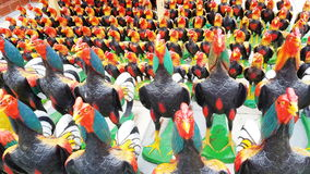 Stucco chickens Painted. Royalty Free Stock Images