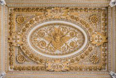 Stucco decoration in the ceiling of the portico in Saint Peter Basilica in Rome, Italy. stock photography