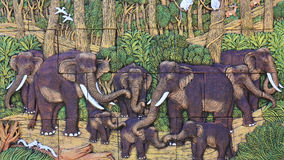 Stucco of elephant family stock image