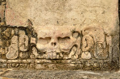 Stucco famous skull with eye sockets in the ancient city of Pale Stock Photography