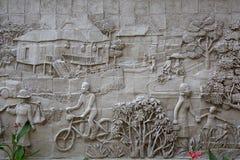 Stucco la imagen de la pared de la forma de vida tailandesa urbana tradicional Imagen de archivo
